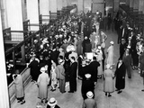 Crowds in the Lobby of a Detroit Bank Photographic Print