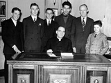 Father Edward Flanagan Sits on His Desk Made by Boys Town Citizens over a Period of Three Years Poster