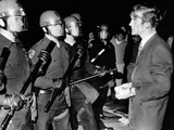 Terence Hallinan, Activist Attorney, Bloody from Gash on Head, Confronts Police Officer Photo