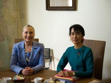Hillary Clinton Visited Daw Aung San Suu Kyi at Her House in Rangoon, Myanmar (Burma), Dec 2, 2011 Photo