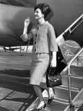 Jacqueline Kennedy Deplanes in New York City Poster