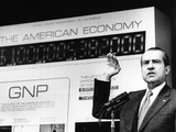 President Richard Nixon Unveiled a New Gross National Product (GNP) Clock at the Commerce Dept Prints