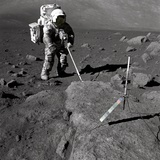 Apollo 17 Geologist-Astronaut Harrison Schmitt Covered with Lunar Dirt Photographic Print