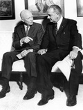 Former President Dwight Eisenhower with President Lyndon Johnson at the White House Posters