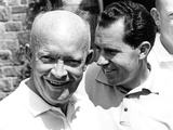 Former President Dwight Eisenhower and His Vice President, Richard Nixon Meet to Play Golf Photographic Print