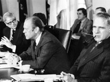 President Gerald Ford in a Cabinet Meeting Six Days before His First State of the Union Address Photographic Print