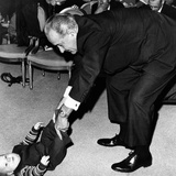 President Lyndon Johnson Tugs the Legs of His Baby Grandson, Lyndon Patrick Nugent Photographic Print