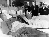 President Lyndon Johnson Visits Vietnam Wounded Photographic Print