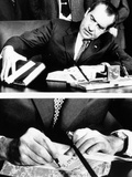 President Richard Nixon Signing the Budget for Fiscal 1972 Which He Is Sending to Congress Photo