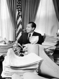 President Richard Nixon Sitting Among Stacks of Telegrams Supporting His Vietnam Policy Photo