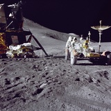 Apollo 15 Astronaut James Irwin Loads Lunar Roving Vehicle at the Hadley-Apennine Landing Site Photo