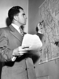 Representative Richard Nixon Studies His Campaign Map During His Campaign for Senator, Nov 6, 1950 Photo