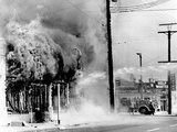 Fire on a Block During the 4th Day of the 1965 Watts Riots Photographic Print