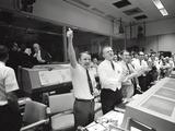 Apollo 13 Flight Directors Applaud the Successful Splashdown of the Command Module - Photo