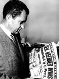 VP Richard Nixon Reads Headline About Democratic VP Nominee, Senator Estes Kefauver, Aug 18, 1956 Photographic Print