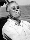 Pres Franklin Roosevelt Smokes Cigarette and Fishing During Vacation on Gulf of Mexico, May 10 1937 Photographic Print
