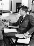 President John Kennedy in His Oval Office Rocking Chair Photo