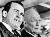 Former Vice Pres Richard Nixon and Former Pres Dwight Eisenhower at Hoover 91st Birth Remembrance Photographic Print