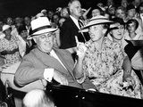 Pres Franklin Roosevelt and Animated Eleanor Roosevelt, Leave Society Wedding, Hyde Park, NY Photographic Print