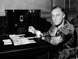 New York Governor and Democratic Presidential Nominee, Franklin Roosevelt, Playing Solitaire Photographic Print