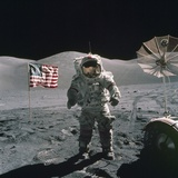 Apollo 17 Astronaut Stands Between US Flag and Lunar Rover, Dec 12, 1971 Photo