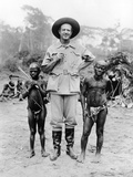 Caucasian Man with Two African Pigmy Men, ca 1930 Photo