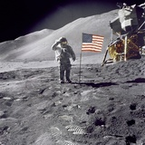 Apollo 15 Astronaut David Scott, Gives a Military Salute to US Flag on the Moon, July 30, 1971 Photo