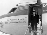 Vice President Richard Nixon Exits His Plane During the 1956 Election Campaign Photo