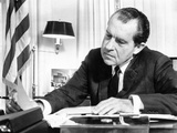 Pres Richard Nixon in Office Studying Background Material for Upcoming European Trip, Feb 2, 1969 Photo