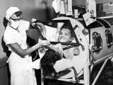 Polio Patient Flossie Rogers Looking at the World Through the Mirror of Her Iron Lung in June 1957 Photo