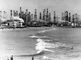 Venice Beach View of Oil Derricks Photographic Print