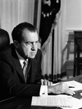 President Richard Nixon at His Oval Office Desk on His First Day as President, Jan 21, 1969 Photo