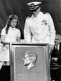Caroline Kennedy and Capt Earl Yates, Commander of Aircraft Carrier, USS John F Kennedy Prints