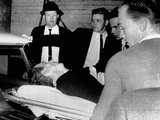Dying Assassin Lee Harvey Oswald in Ambulance after Shot by Jack Ruby, Dallas Police Station Photo