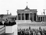 President John Kennedy Visits the Berlin Wall Photographic Print