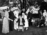 Pres Franklin Roosevelt and First Lady with Veterans from Walter Reed Hospital Photographic Print