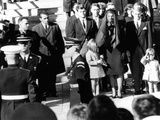 Three Year Old John F Kennedy Jr Salutes His Father's Flag Draped Coffin after Funeral Mass Lámina fotográfica
