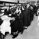 Women Eagerly Shop across the Counter at a Newly Opened Sears Retail Store Poster