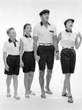 Jantzen Sportswear Presented the Summer Wear as 'Regimental Stripes' for the Whole Family, 1957 Print