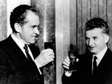 President Richard Nixon Toasts President, Nicolae Ceausescu During His Visit to Romanian Photo