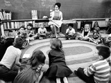 Julie Nixon Eisenhower with First Graders at Edgewater Elementary School Photographic Print