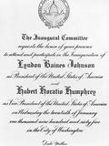 Invitation to Inauguration of Lyndon Johnson as Pres and Hubert Horatio Humphrey as VP, Jan 20 1965 Photo