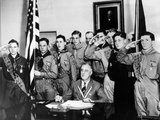 Pres Franklin Roosevelt and Honor Scouts on 27th Anniversary of Boy Scouts Founding, Feb 8, 1937 Print