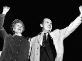 Republican Pres Candidate Richard Nixon and Wife, Pat Wave at Newark Airport on Election Day Photo