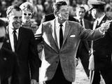 Calif Gov Ronald Reagan Escorts Pres-Elect Richard Nixon across Field at Halftime of Rose Bowl Game Photographie