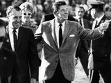 Calif Gov Ronald Reagan Escorts Pres-Elect Richard Nixon across Field at Halftime of Rose Bowl Game Photo
