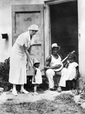 First Lady Eleanor Roosevelt Chatting with the Winn Family, of Christiansted, St Croix Prints