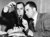 Rep Richard Nixon and Robert Stripling (HUAC Investigator) Examining Microfilm of 'Pumpkin Papers' Photo