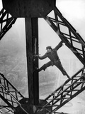 Worker Painting the Eiffel Tower Photographic Print