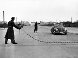 East Berlin Customs Police Stopping a Volkswagen on Charlettenburger Chaussee, Oct 26, 1952 Photo